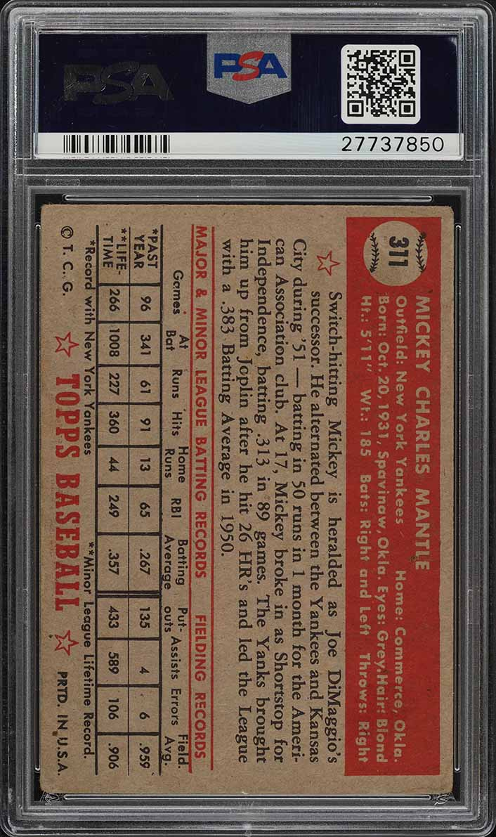 1952 Topps Mickey Mantle #311 PSA 2.5 GD+ (PWCC) - Image 2