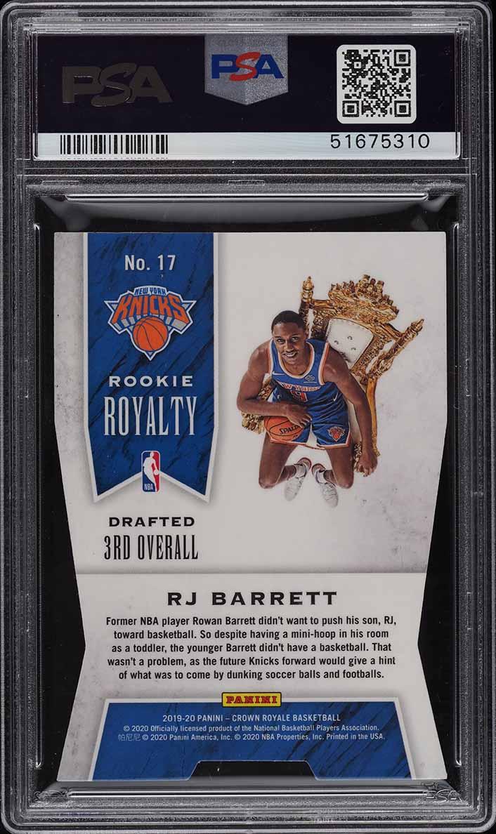 2019 Crown Royale Royalty Blue RJ Barrett ROOKIE RC /75 #17 PSA 9 MINT - Image 2
