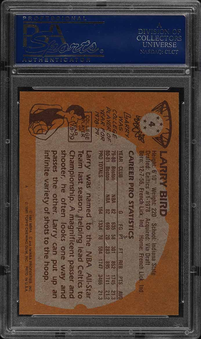 1981 Topps Basketball Larry Bird #4 PSA 9 MINT (PWCC) - Image 2