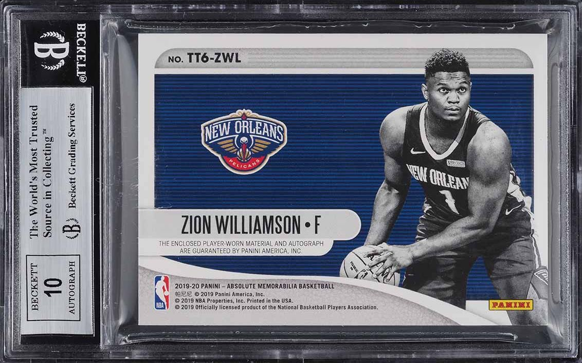 2019 Absolute TOTT Six Level 4 Zion Williamson ROOKIE RC PATCH AUTO /3 BGS 8.5 - Image 2
