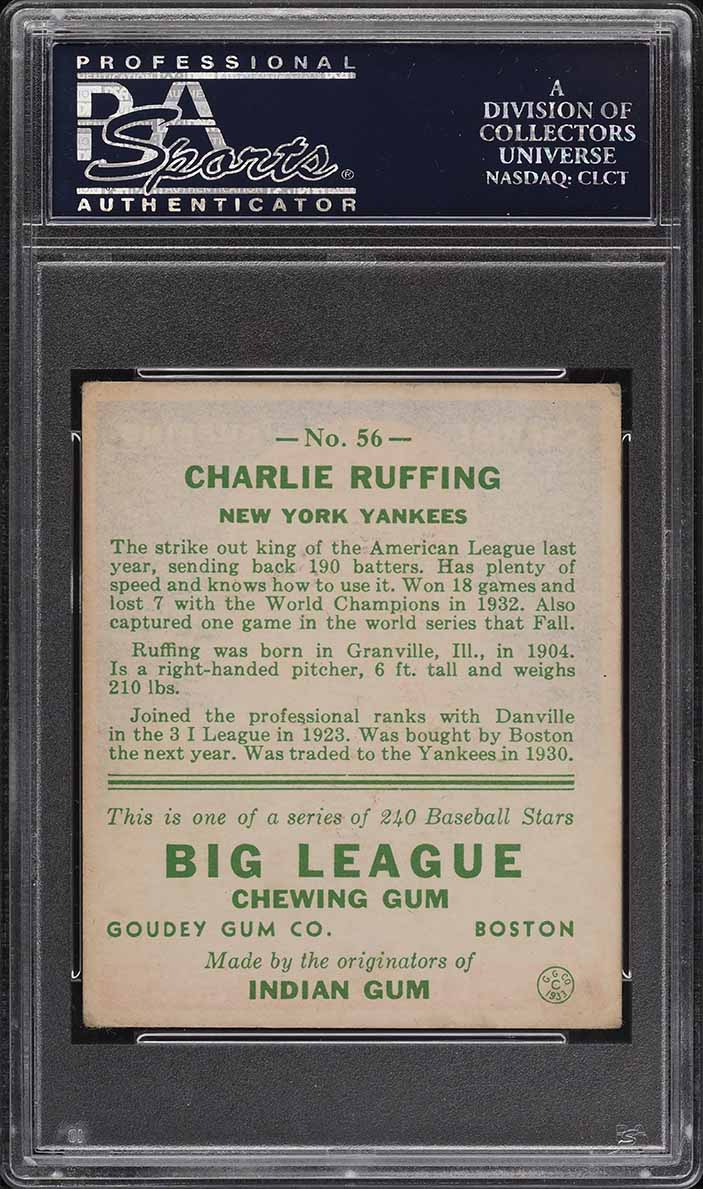 1933 Goudey Charlie Red Ruffing #56 PSA 3.5 VG+ - Image 2