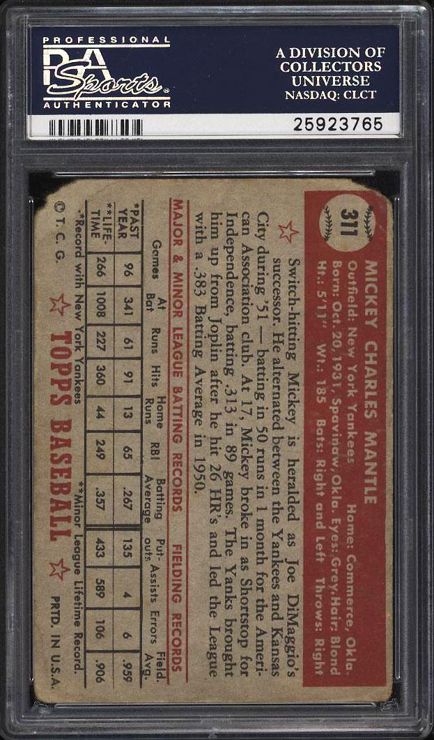 1952 Topps SETBREAK Mickey Mantle #311 PSA 1(mk) PR (PWCC) - Image 2