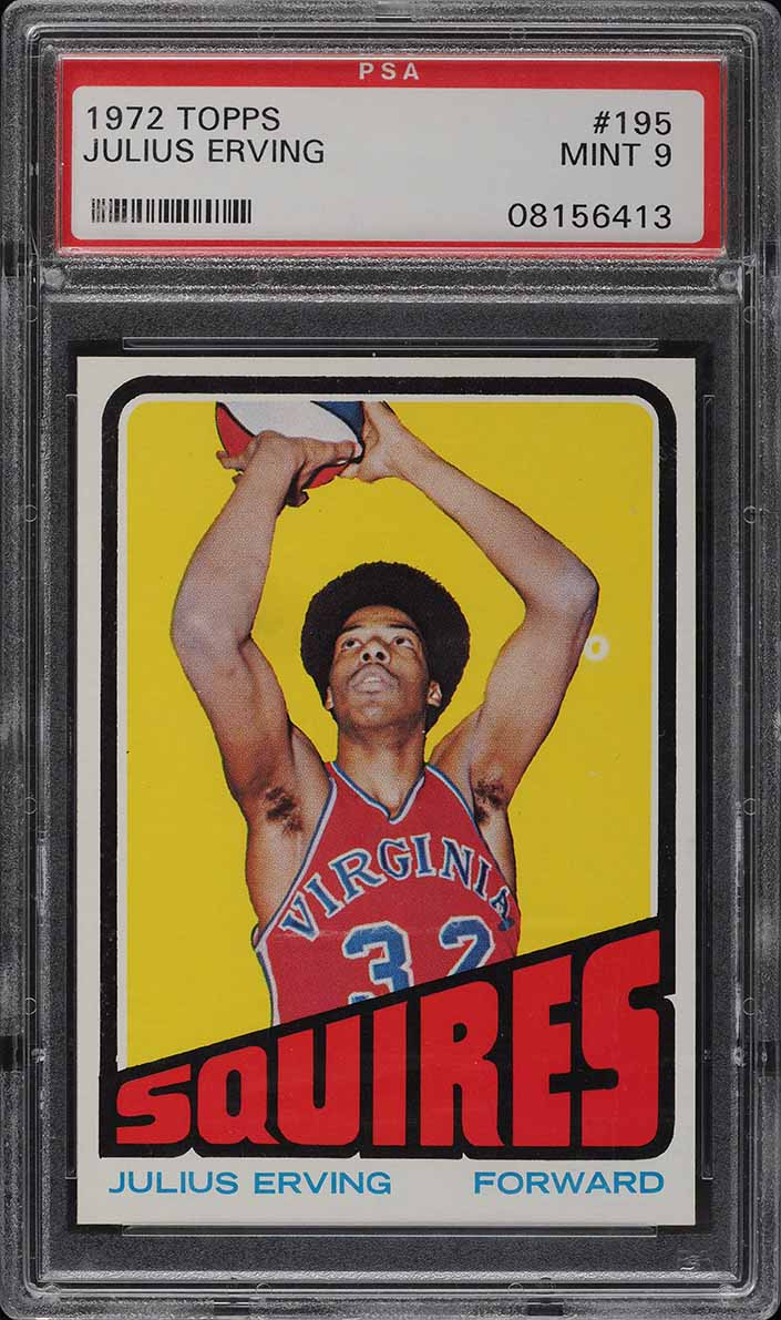 1972 Topps Basketball Julius Erving ROOKIE RC #195 PSA 9 MINT - Image 1