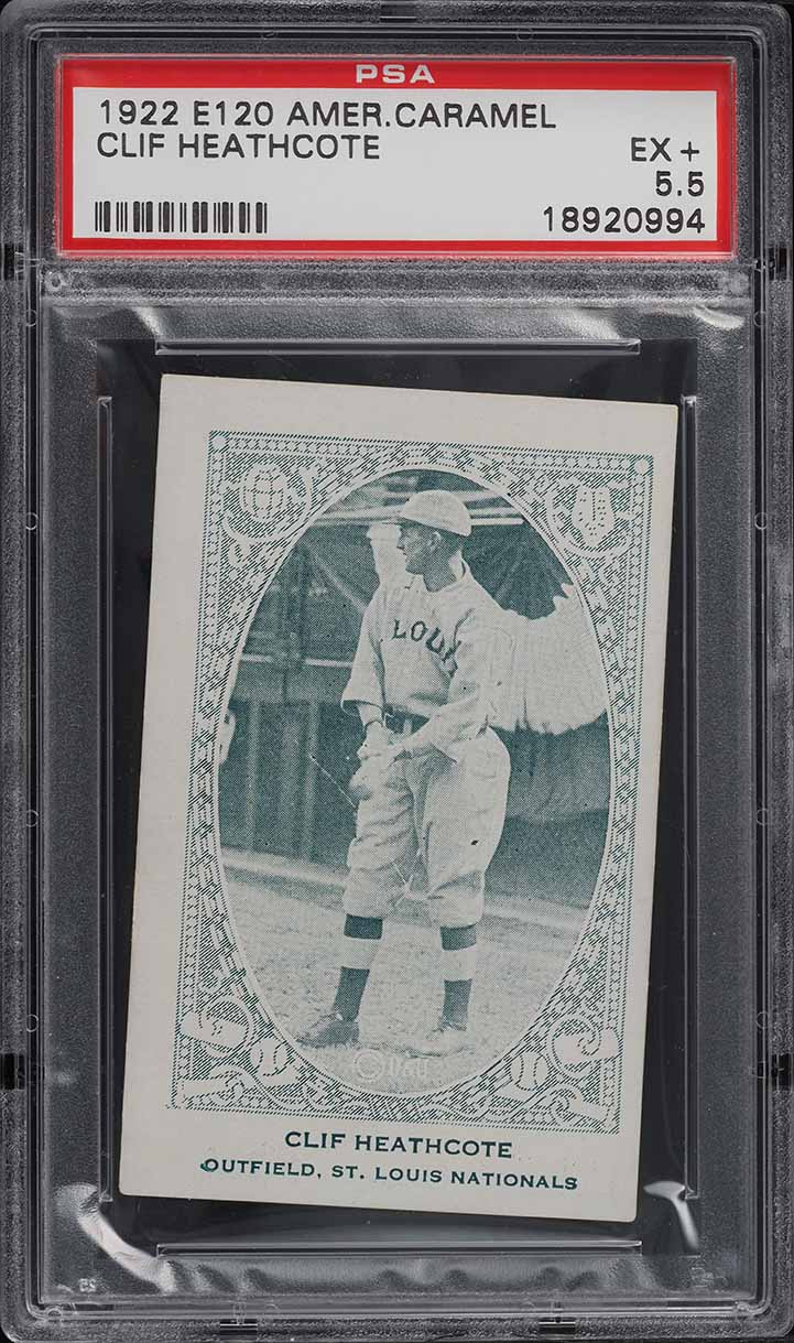 1922 E120 American Caramel Series Of 240 Clif Heathcote PSA 5.5 EX+ - Image 1