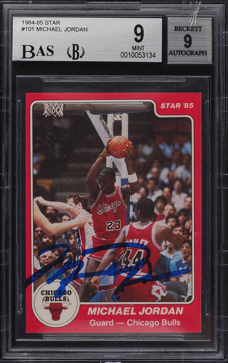 1984-85 Star Basketball Michael Jordan ROOKIE RC AUTO #101 BGS 9 MINT - Image 1