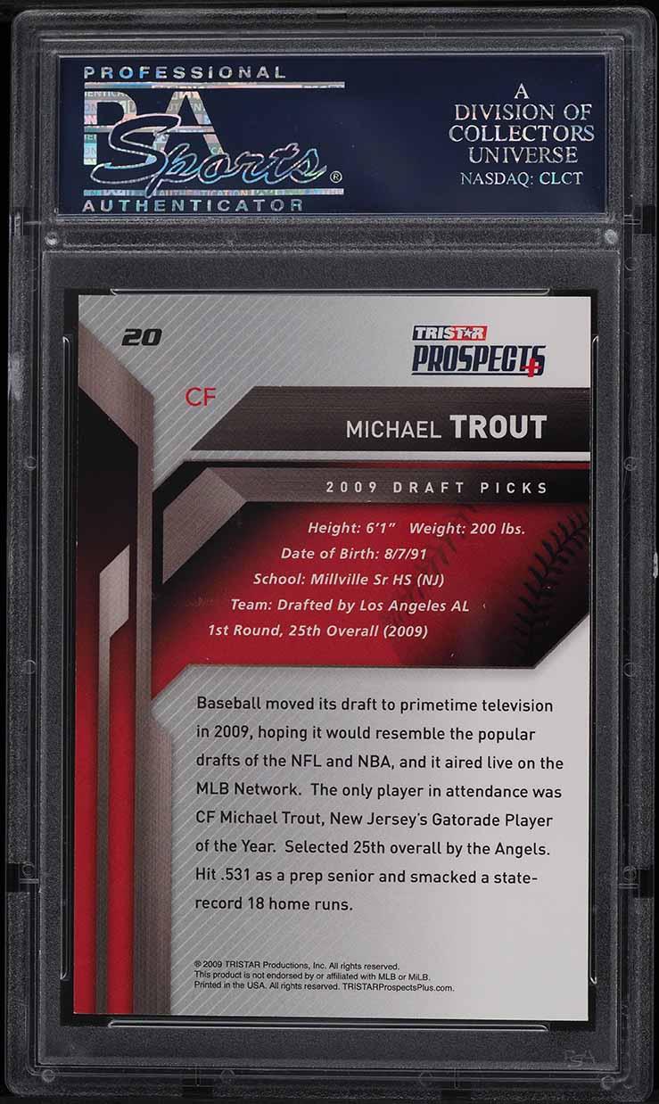 2009 Tristar Prospect Mike Trout ROOKIE RC PSA/DNA AUTO #20 PSA 8.5 NM-MT+ - Image 2