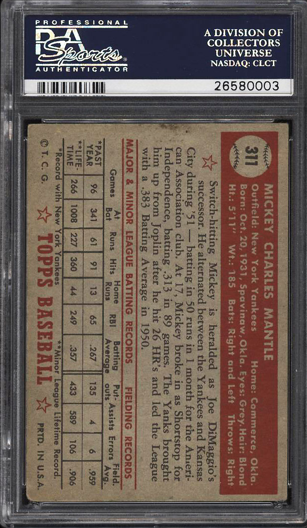 1952 Topps Mickey Mantle #311 PSA 3 VG (PWCC) - Image 2