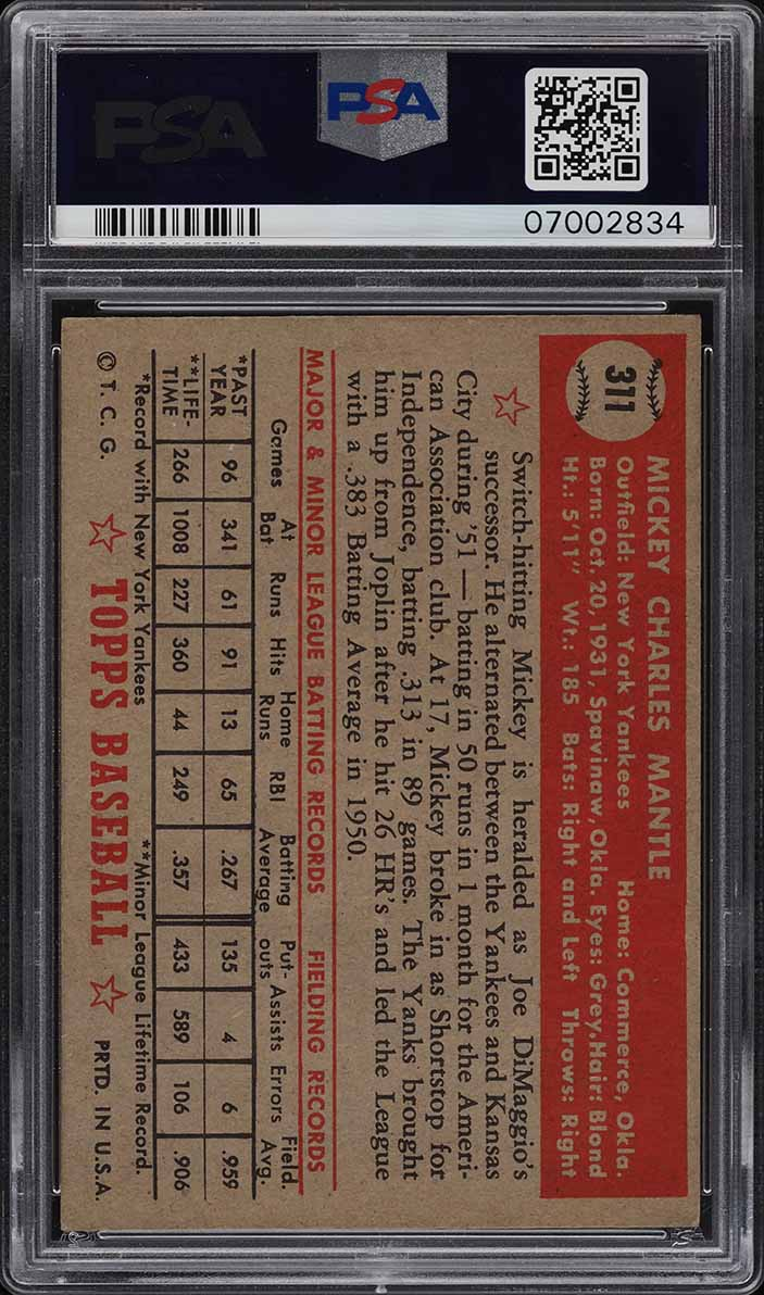 1952 Topps Mickey Mantle #311 PSA 6 EXMT (PWCC) - Image 2