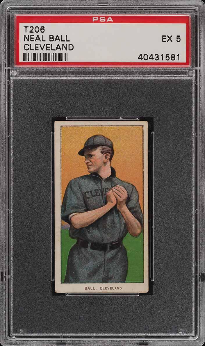 1909-11 T206 SETBREAK Neal Ball CLEVELAND PSA 5 EX (PWCC) - Image 1