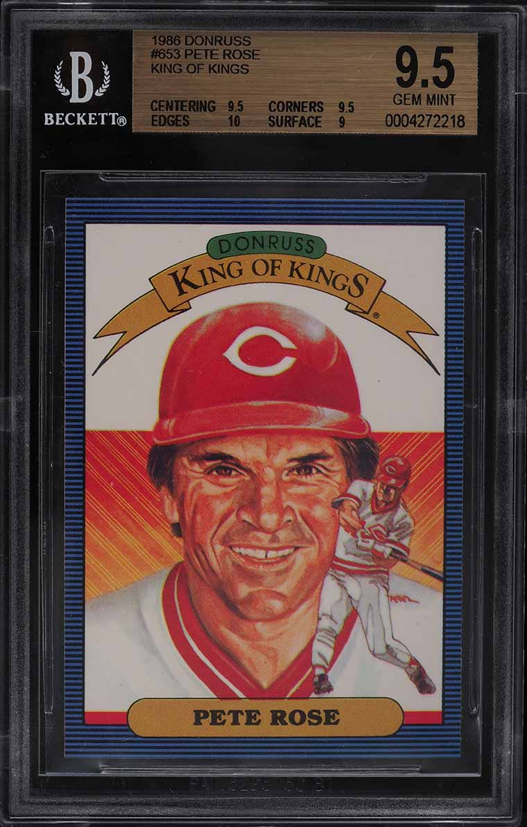 1986 Donruss King Of Kings Pete Rose #653 BGS 9.5 GEM MINT - Image 1
