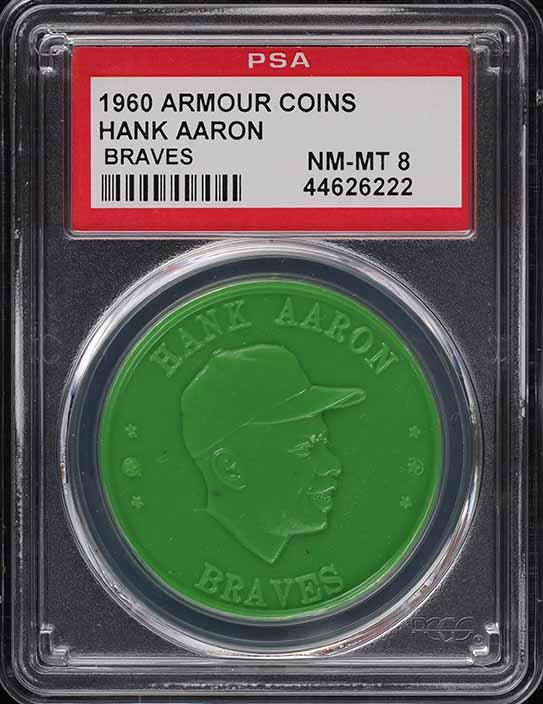 1960 Armour Coins Hank Aaron BRAVES PSA 8 NM-MT - Image 1