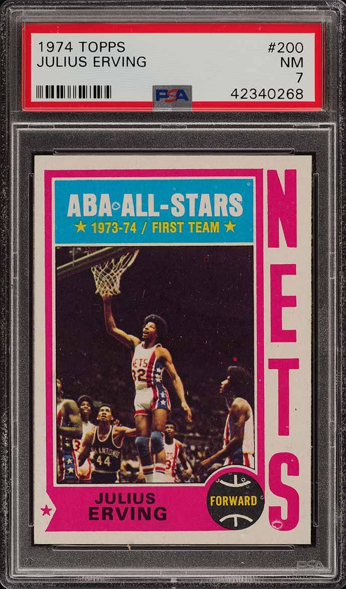 1974 Topps Basketball Julius Erving ALL-STAR #200 PSA 7 NRMT (PWCC) - Image 1