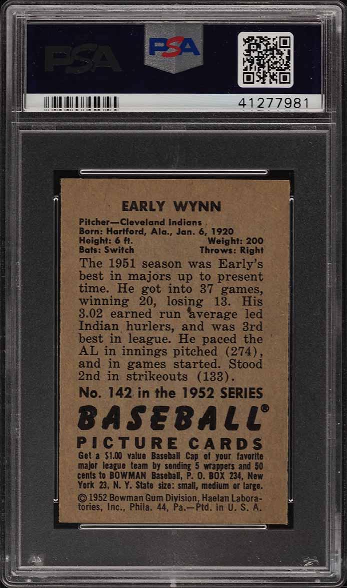 1952 Bowman Early Wynn #142 PSA 9 MINT (PWCC) - Image 2