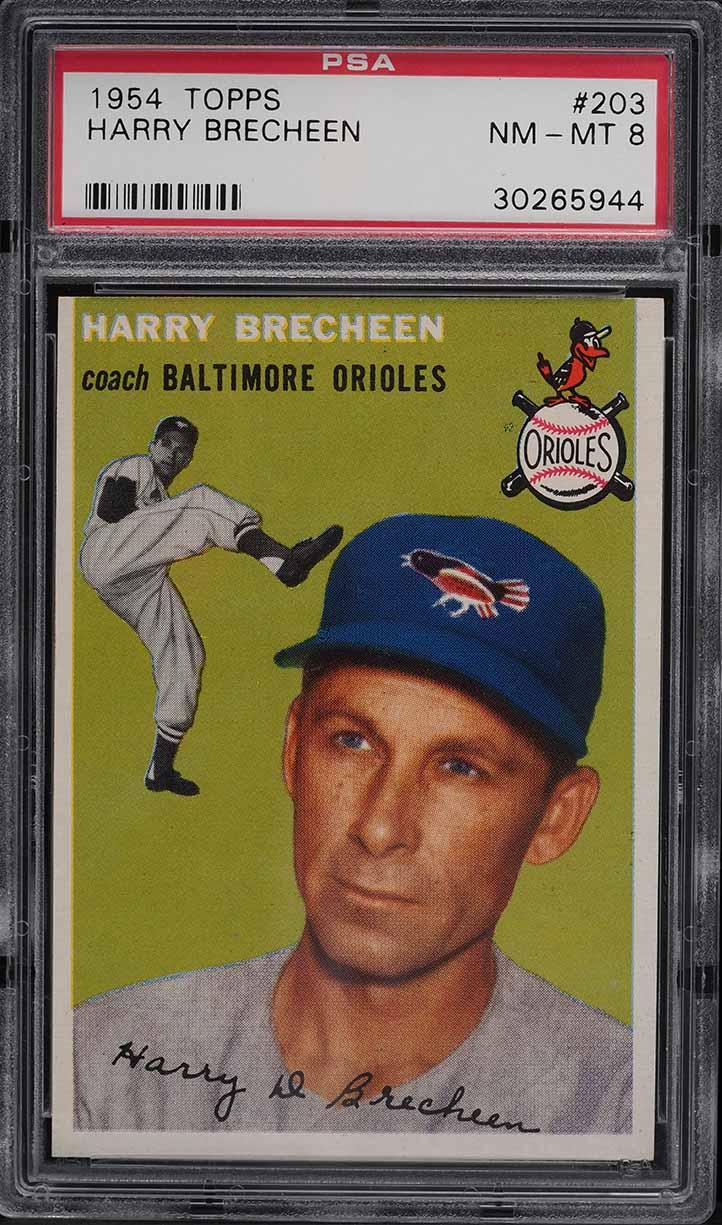 1954 Topps Harry Brecheen #203 PSA 8 NM-MT - Image 1