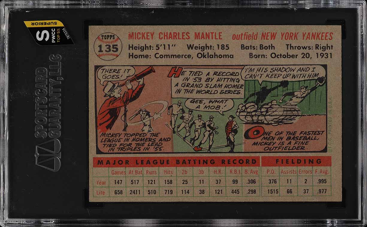 1956 Topps Mickey Mantle #135 SGC 8.5 NM-MT+ (PWCC-S) - Image 2