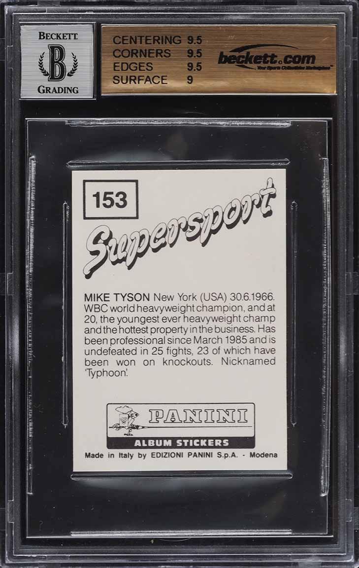 1986 Panini Supersport UK Mike Tyson ROOKIE RC AUTO #153 BGS 9.5 GEM MINT - Image 2