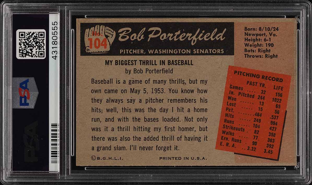 1955 Bowman Bob Porterfield #104 PSA 8 NM-MT (PWCC) - Image 2