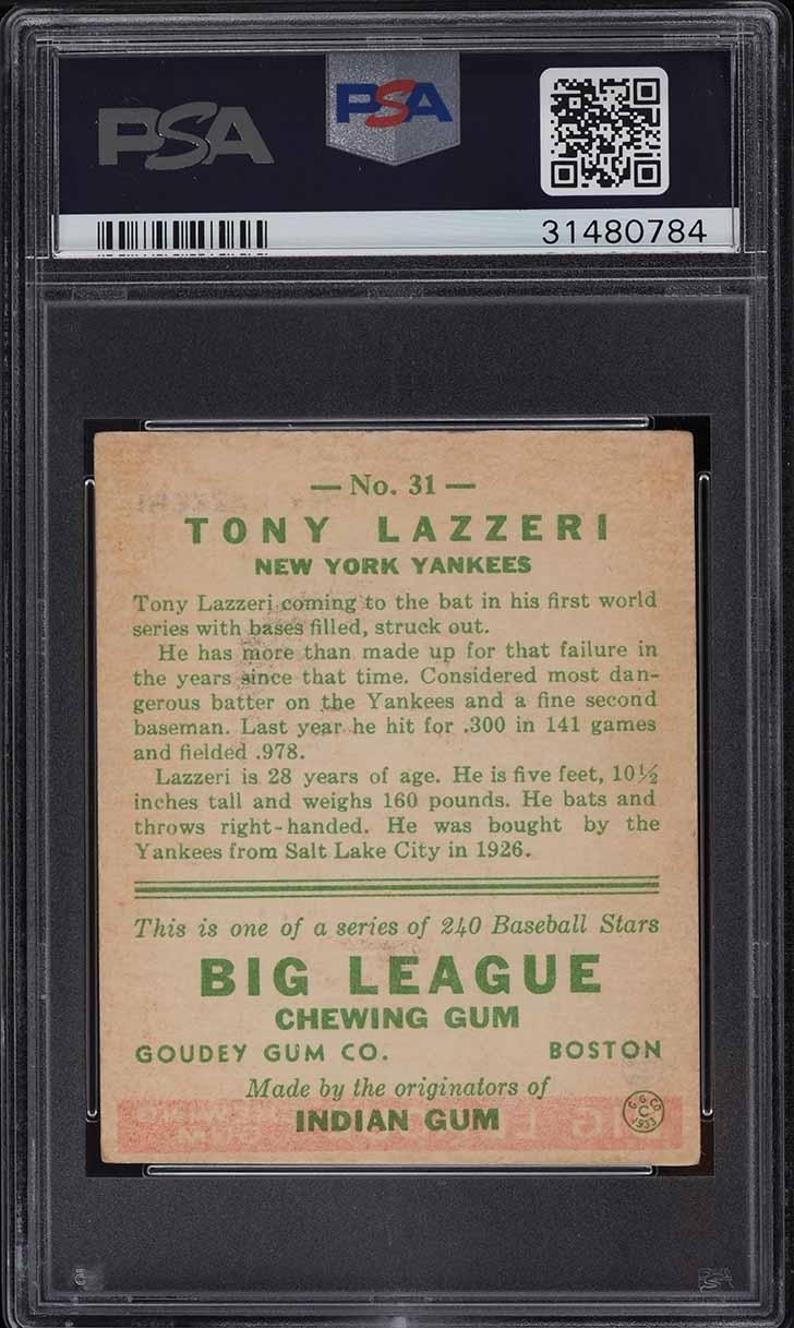 1933 Goudey Tony Lazzeri #31 PSA 6 EXMT - Image 2