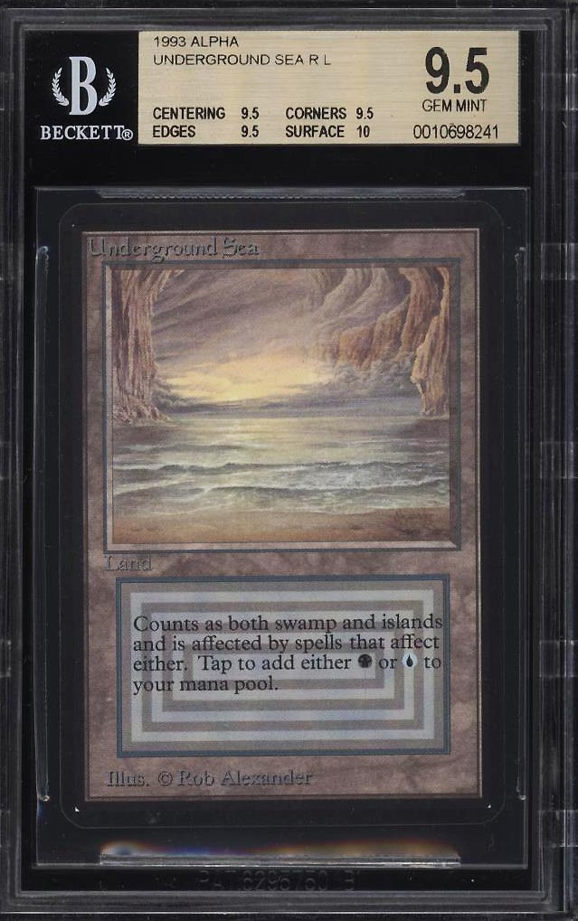 1993 Magic The Gathering MTG Alpha Dual Land Underground Sea R L BGS 9.5