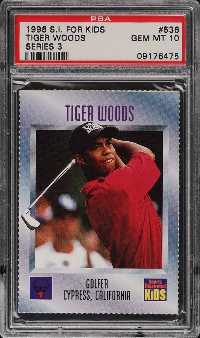 1996 Sports Illustrated For Kids Tiger Woods ROOKIE RC PSA 10 GEM MINT (PWCC) - Image 1
