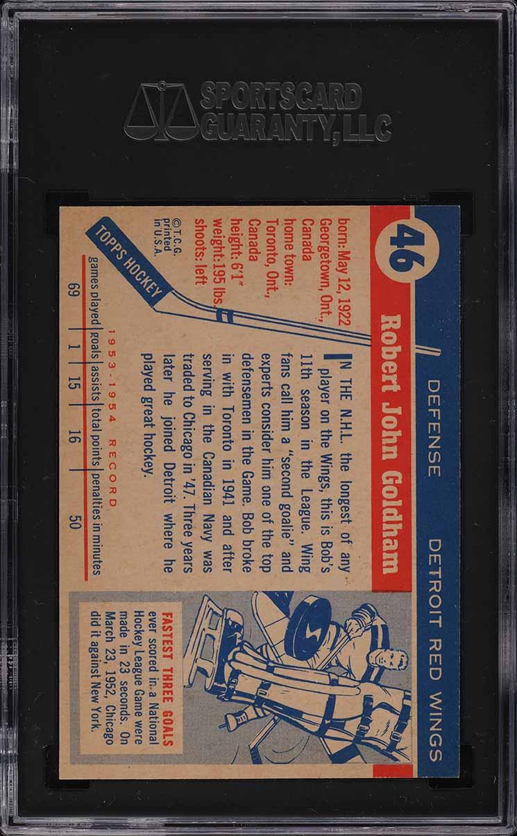 1954 Topps Hockey Bob Goldham #46 SGC 8.5 NM-MT+ - Image 2