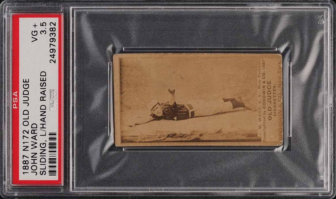 1887 N172 Old Judge John Ward SLIDING, L HAND RAISED PSA 3.5 VG+ - Image 1