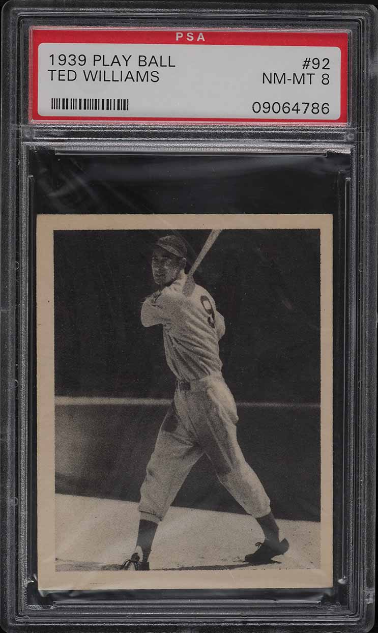 1939 Play Ball Ted Williams ROOKIE RC #92 PSA 8 NM-MT - Image 1