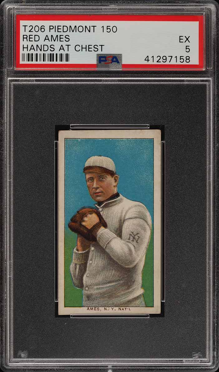 1909-11 T206 Red Ames HANDS AT CHEST PSA 5 EX (PWCC) - Image 1