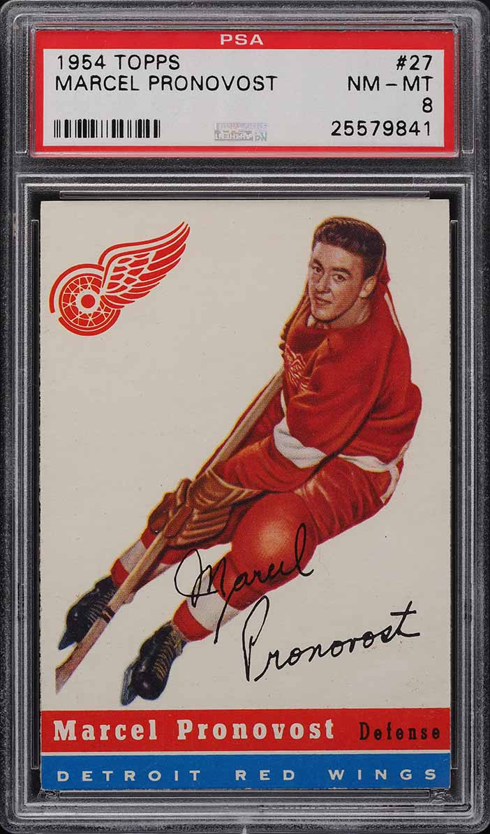1954 Topps Hockey Marcel Pronovost #27 PSA 8 NM-MT - Image 1