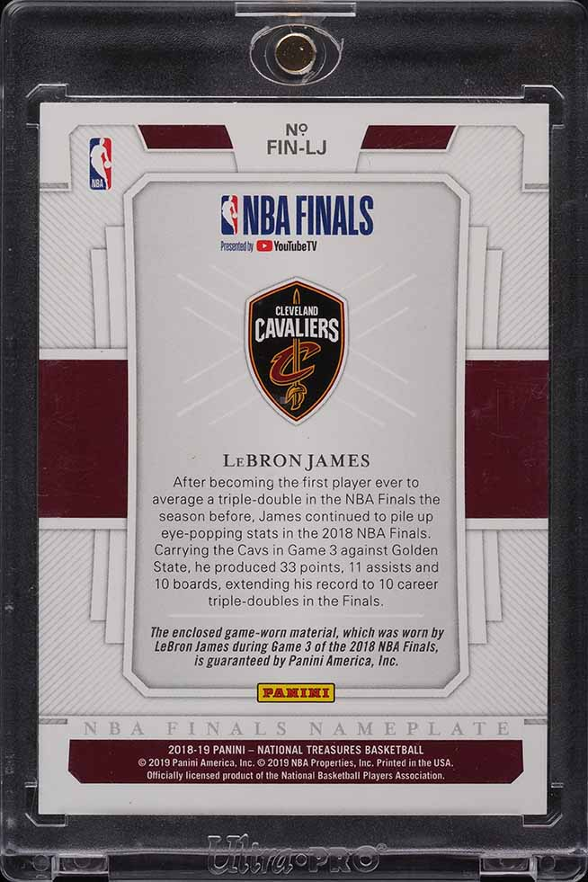 "2018 National Treasures NBA Finals Nameplate LeBron James LETTER ""E"" PATCH 4/5  - Image 2"