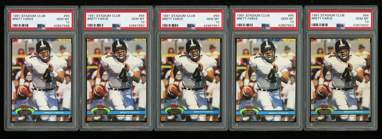 Lot(5) 1991 Stadium Club Football Brett Favre ROOKIE RC #94, ALL PSA 10 (PWCC) - Image 1