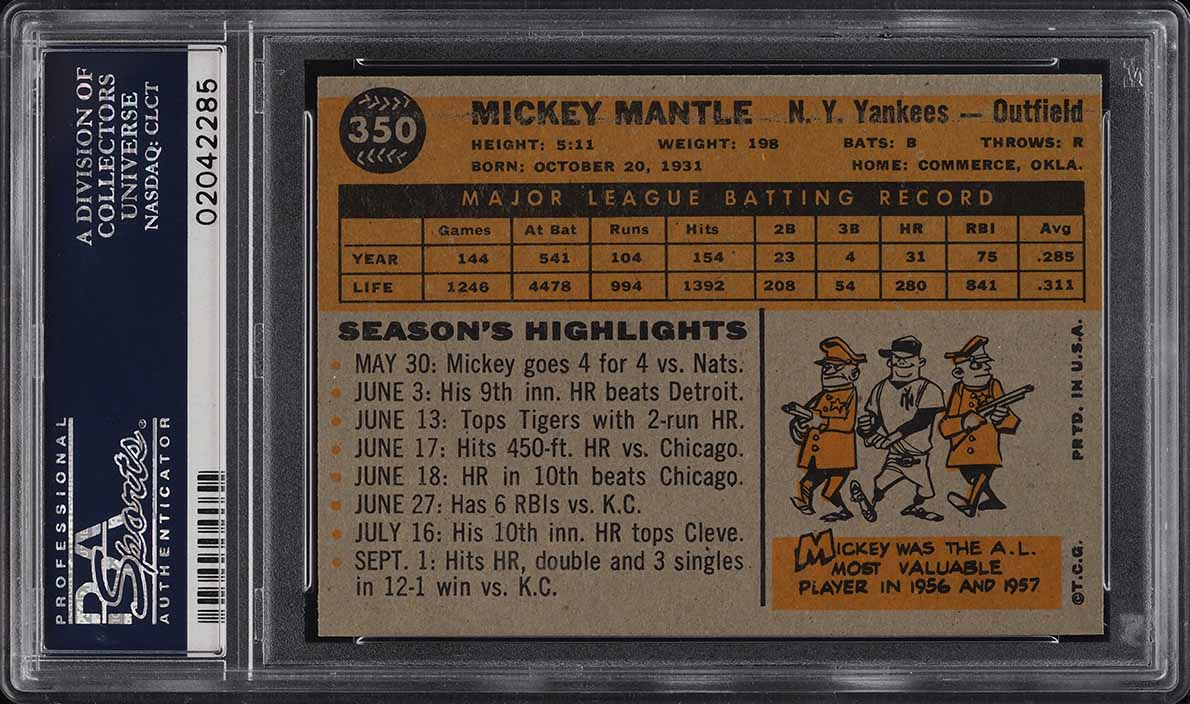 1960 Topps Mickey Mantle #350 PSA 9 MINT - Image 2