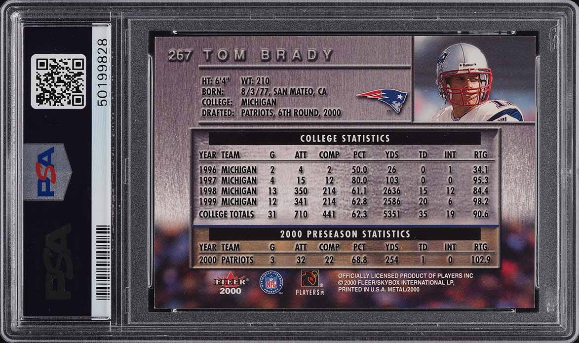 2000 Metal Football Tom Brady ROOKIE RC #267 PSA 8 NM-MT - Image 2