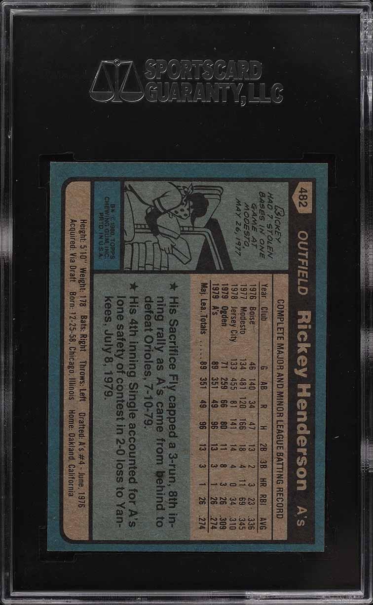 1980 Topps Rickey Henderson ROOKIE RC #482 SGC 10 GEM MINT - Image 2