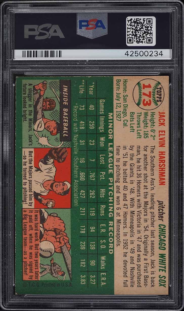 1954 Topps Jack Harshman #173 PSA 8 NM-MT - Image 2