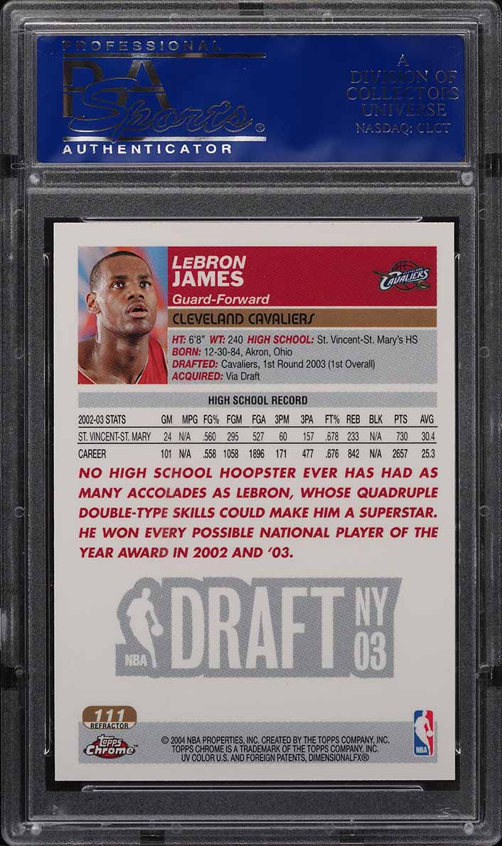2003 Topps Chrome Refractor LeBron James ROOKIE RC #111 PSA 9 MINT - Image 2