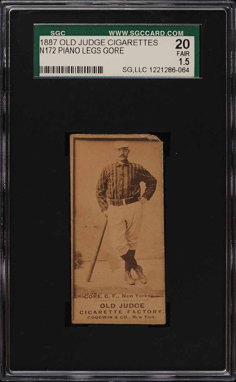 1887 N172 Old Judge George Gore LEAN ON BAT SGC 1.5 FR (PWCC) - Image 1