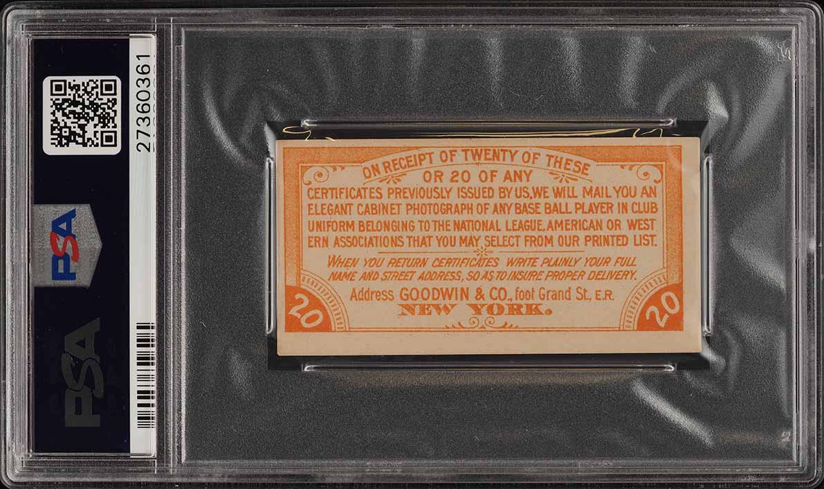 1887 N172 Old Judge Return Coupon PSA 3 VG (PWCC) - Image 2