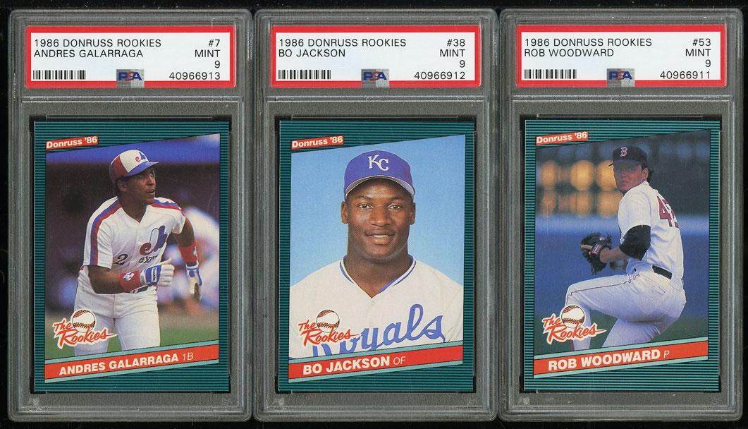 Lot(3) 1986 Donruss Rookies w/ Bo Jackson Galarraga Woodward RC, ALL PSA 9 MINT - Image 1