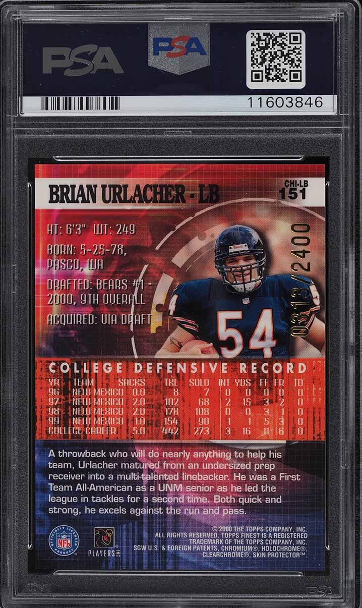 2000 Finest Football Brian Urlacher ROOKIE RC /2400 #151 PSA 10 GEM MINT - Image 2