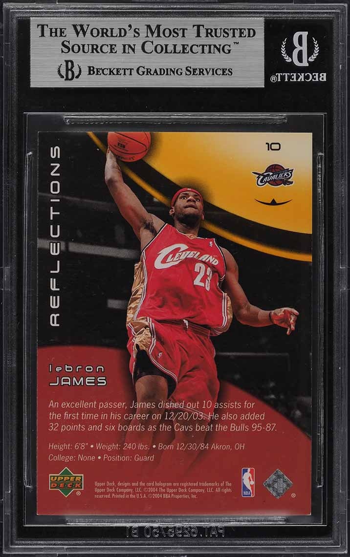 2003 Upper Deck Triple Dimensions Reflections Gold LeBron James ROOKIE /50 BGS 9 - Image 2