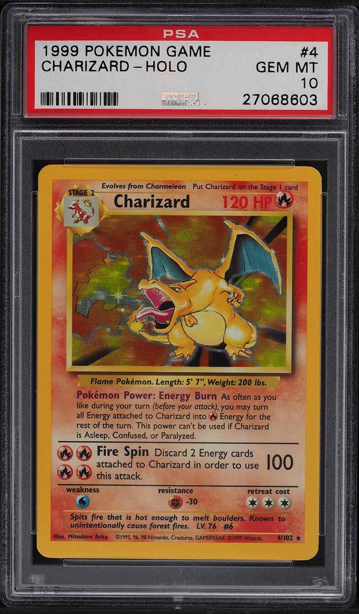 1999 Pokemon Base Set Unlimited Holo Charizard #4 PSA 10 GEM MINT - Image 1
