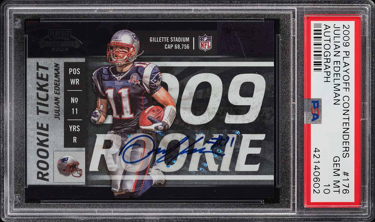 2009 Playoff Contenders Julian Edelman ROOKIE RC AUTO #176