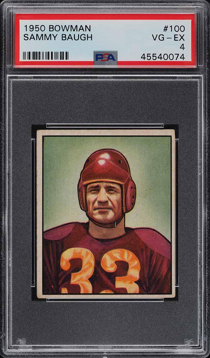 1950 Bowman Football Sammy Baugh #100 PSA 4 VGEX (PWCC) - Image 1