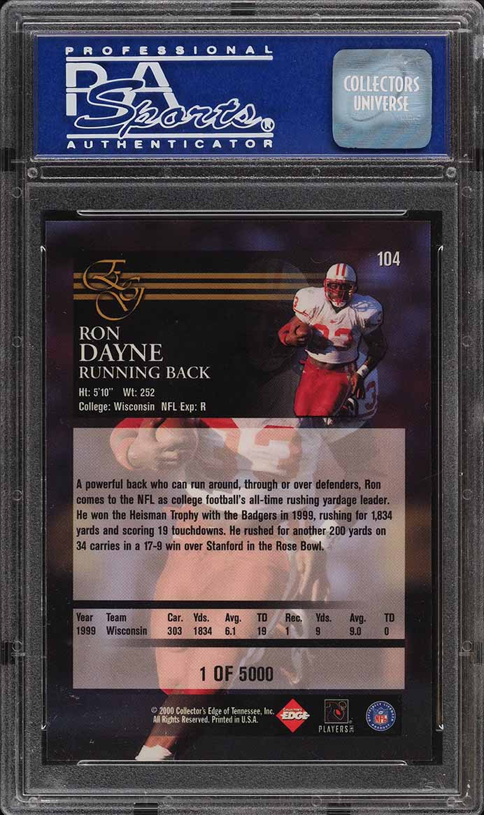 2000 Collector's Edge Graded Uncirculated Ron Dayne ROOKIE RC /5000 PSA 10 GEM - Image 2