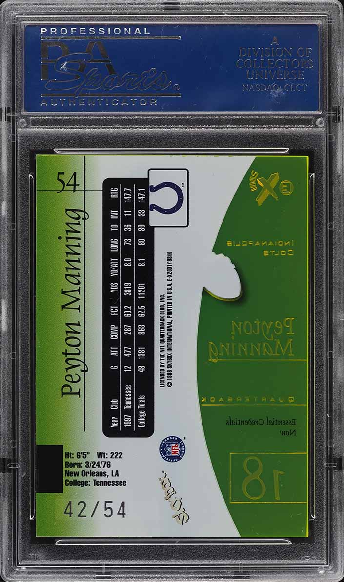 1998 Skybox E-X2001 Essential Credentials Now Peyton Manning ROOKIE /54 PSA 10 - Image 2