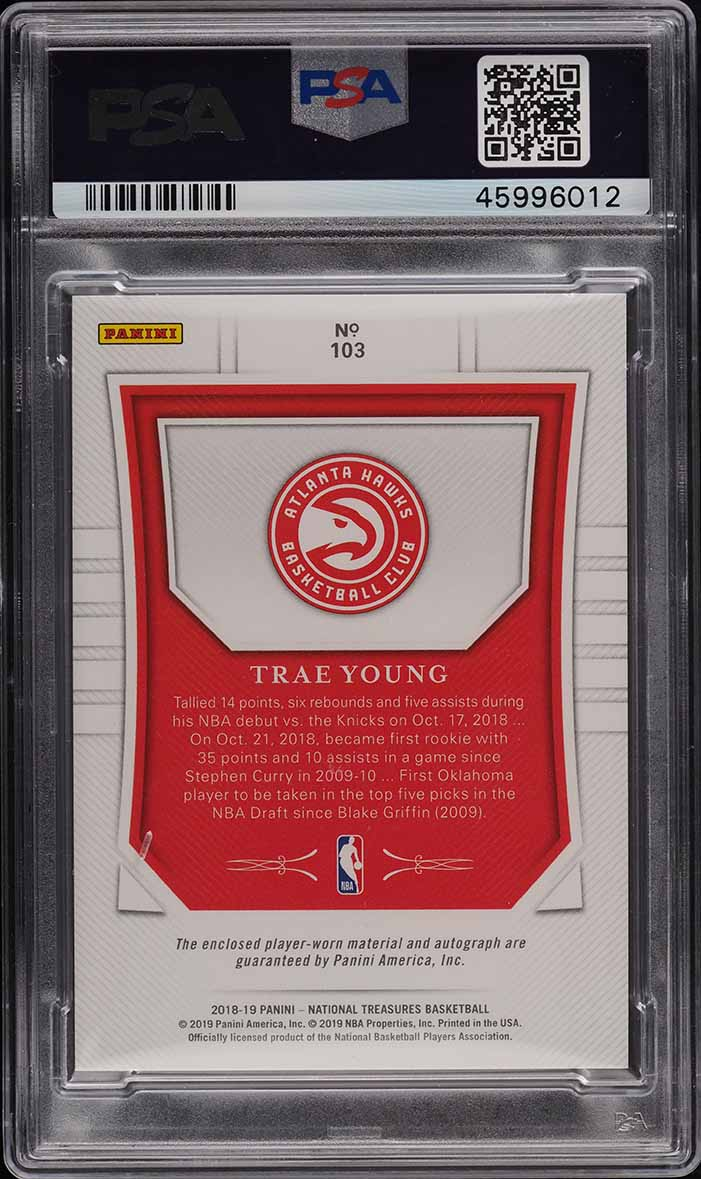 2018 National Treasure Trae Young ROOKIE RC PATCH PSA/DNA 10 AUTO /99 #103 PSA 9 - Image 2