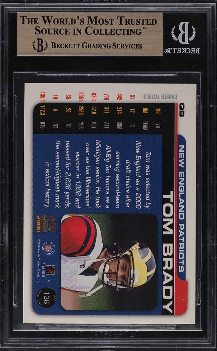 2000 Pacific Paramount Football Tom Brady ROOKIE RC #138 BGS 9.5 GEM MINT - Image 2