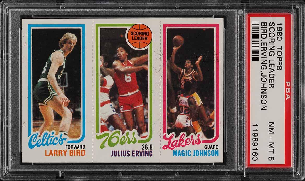 1980 Topps Basketball Larry Bird & Magic Johnson ROOKIE RC PSA 8 NM-MT (PWCC) - Image 1