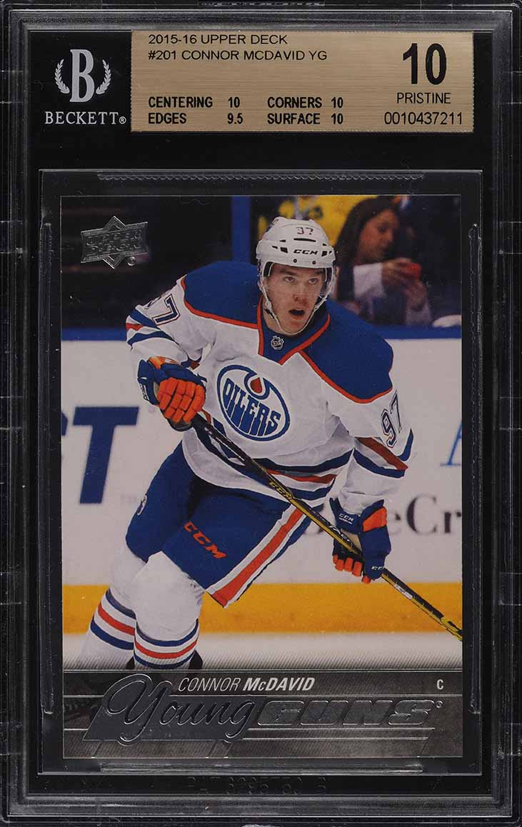 2015 Upper Deck Young Guns Connor McDavid ROOKIE RC #201 BGS 10 PRISTINE (PWCC) - Image 1